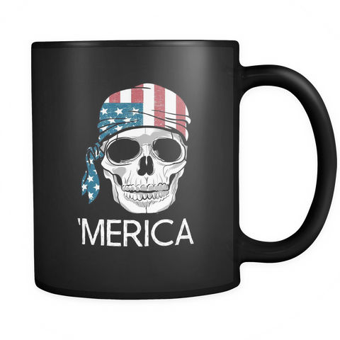 Image of teelaunch 11oz Black Mug Americ America Coffee Tea Mug Black 11 oz