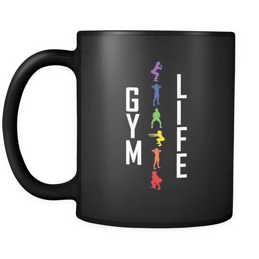 teelaunch 11oz Black Mug GymLife(Black) Gym Life Coffee Tea Mug Black 11 oz