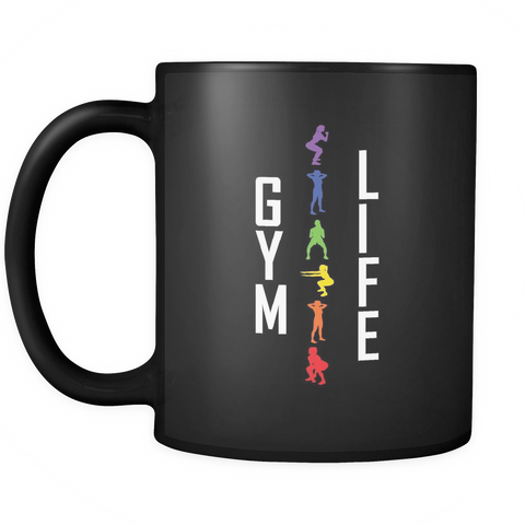 Image of teelaunch 11oz Black Mug GymLife(Black) Gym Life Coffee Tea Mug Black 11 oz