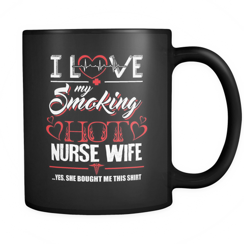 teelaunch 11oz Black Mug Love my nurse wife(Black) Love My Nurse Wife  Coffee Tea Mug Black 11 oz