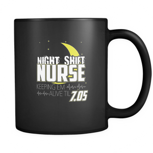 teelaunch 11oz Black Mug Night shift nurse Night Shift Nurse  Coffee Tea Mug Black 11 oz