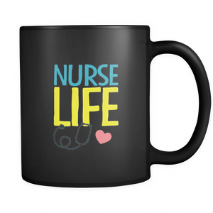 teelaunch 11oz Black Mug Nurse Life Nurse Life Coffee Tea Mug Black 11 oz