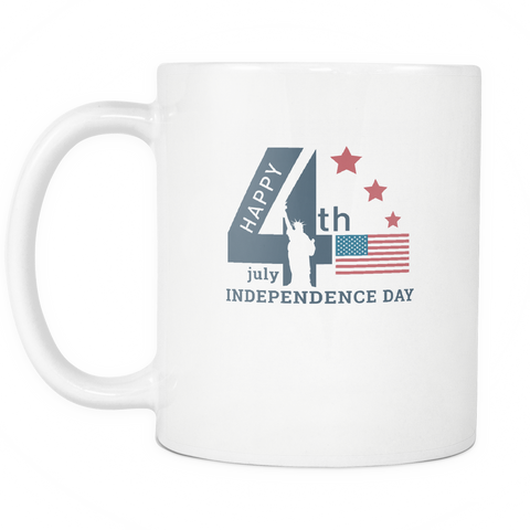 teelaunch 11oz White Mug 4th july independance 4th July Independence Coffee Tea  Mug White 11oz