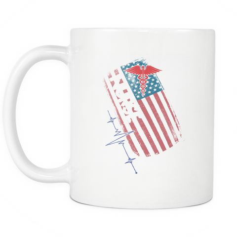 teelaunch 11oz White Mug American Nurse American Nurse Coffee Tea Mug White 11oz