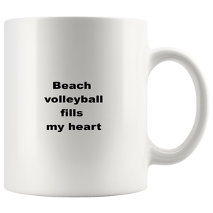 teelaunch 11oz White Mug asffw Beach Volleyball Fills My Heart Players Coffee Tea Mug White 11 oz