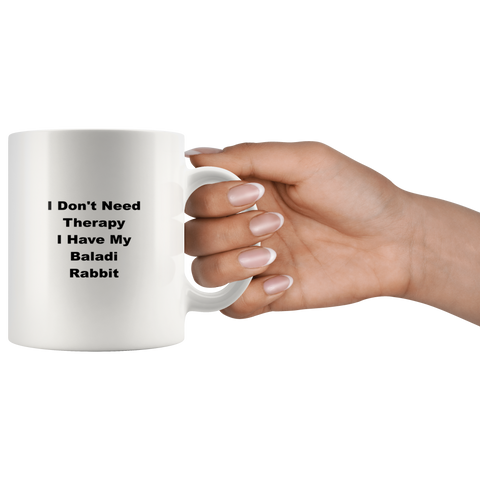 Image of teelaunch 11oz White Mug awffw Baladi Rabbit I Don't Need Therapy Coffee Tea Mug White 11 oz
