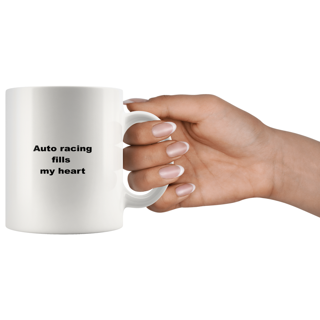 teelaunch 11oz White Mug awfw Auto Racing Fills My Heart Speed Racer Coffee Tea Mug White 11 oz
