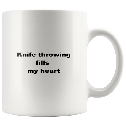 Image of teelaunch 11oz White Mug awfw Knife Throwing Coffee Tea Mug White 11 oz