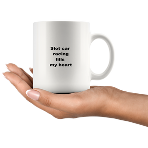 Slot Car Racing Coffee Tea Mug White 11 oz