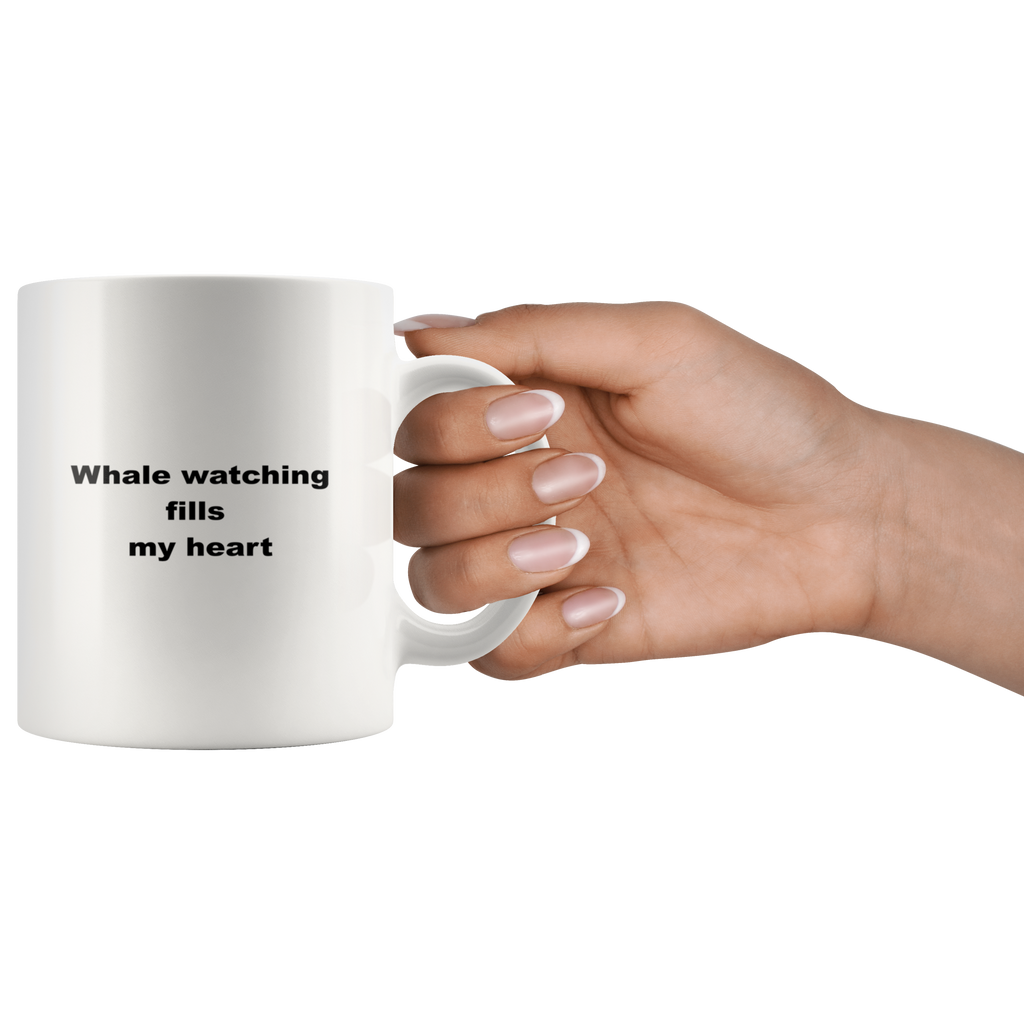 teelaunch 11oz White Mug awfwf Whale Watching Coffee Tea Mug White 11 oz