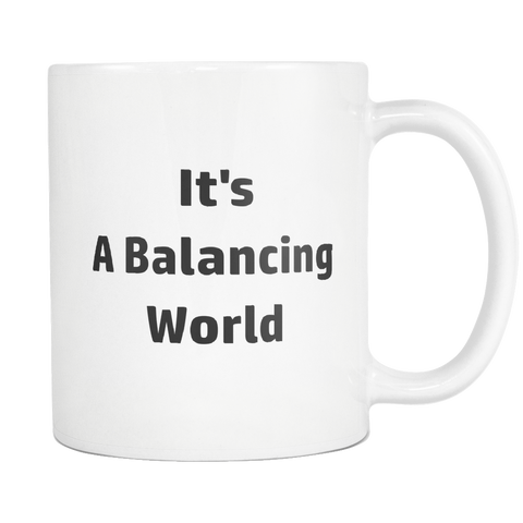 Image of teelaunch 11oz White Mug Balancing Life Accountant Balancing World Coffee Tea Mug White 11 oz