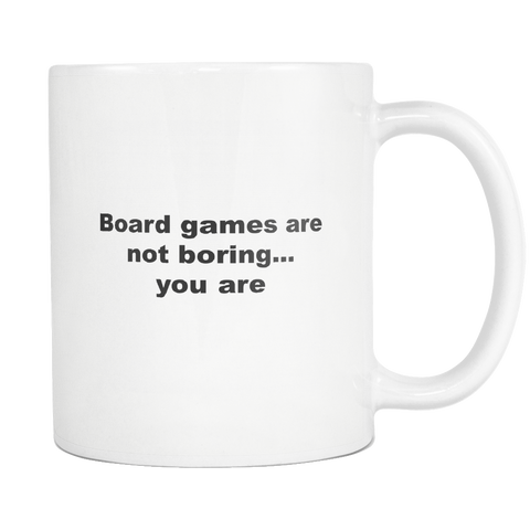 Image of teelaunch 11oz White Mug Board games Board Game Not Boring Strategy Coffee Tea Mug White 11 oz