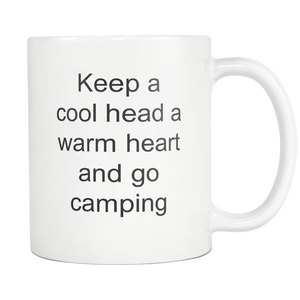 Happy Camper Cool Head Warm Heart Camping Coffee Tea Mug White 11 oz