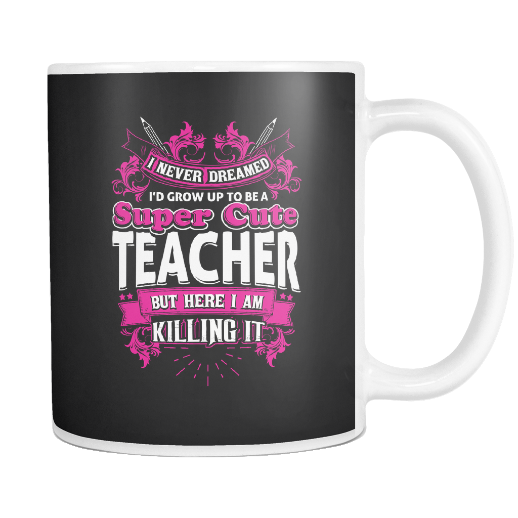 teelaunch 11oz White Mug Cuteteacher(White) Super Cute Teacher Coffee Tea Mug White 11 oz