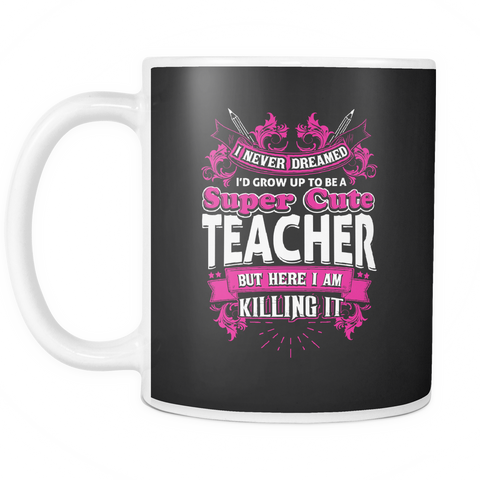 Image of teelaunch 11oz White Mug Cuteteacher(White) Super Cute Teacher Coffee Tea Mug White 11 oz