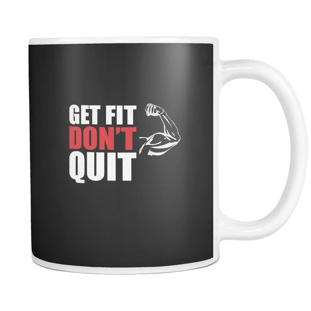 teelaunch 11oz White Mug Getfitdontquit(White) Get Fit Don't Quit Coffee Tea Mug White 11 oz