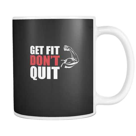 Image of teelaunch 11oz White Mug Getfitdontquit(White) Get Fit Don't Quit Coffee Tea Mug White 11 oz