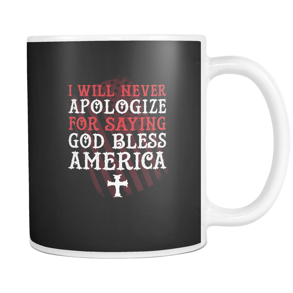 teelaunch 11oz White Mug God Bless America God Bless America Coffee Tea Mug White 11 oz