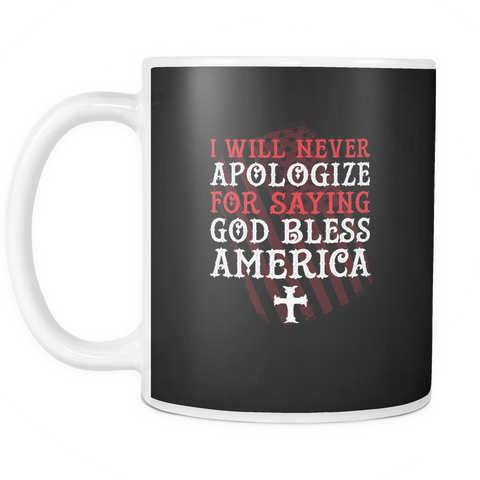 Image of teelaunch 11oz White Mug God Bless America God Bless America Coffee Tea Mug White 11 oz