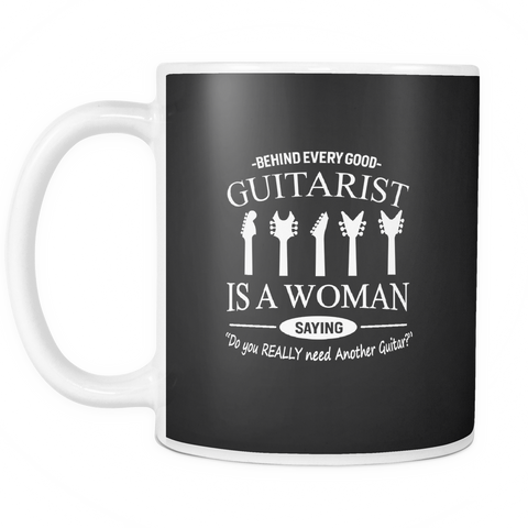 Image of teelaunch 11oz White Mug Guitaristwoman(White) Guitarist Woman Coffee Tea Mug White 11 oz