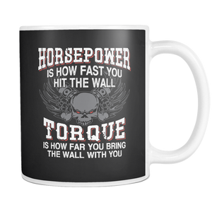 teelaunch 11oz White Mug Horsepower(White) Horsepower Torque Coffee Tea Mug White 11 oz