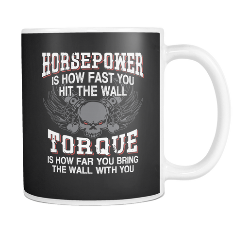 Image of teelaunch 11oz White Mug Horsepower(White) Horsepower Torque Coffee Tea Mug White 11 oz