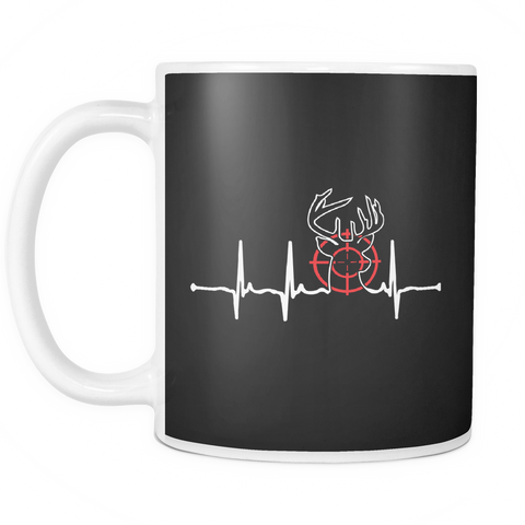 teelaunch 11oz White Mug Huntingheartbeat(White) Hunting Heartbeat Coffee Tea Mug White 11 oz