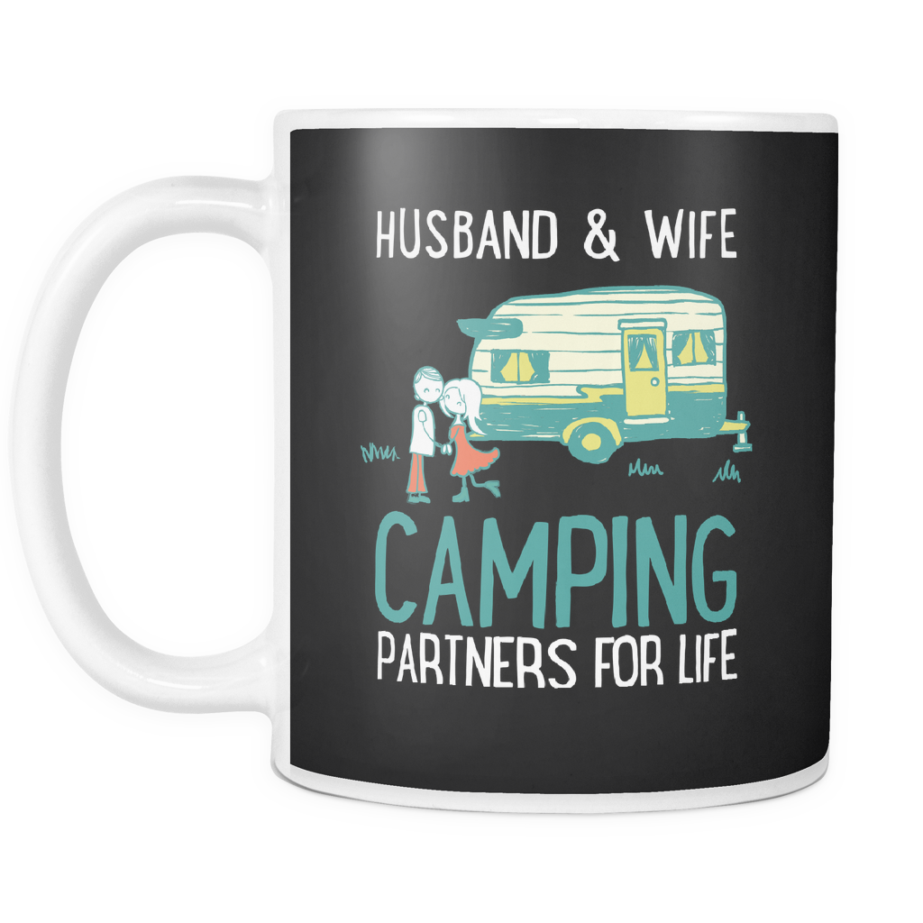 teelaunch 11oz White Mug Husbandwifecamping(White) Husband Wife Camping Coffee Tea Mug White 11 oz