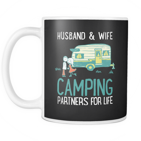 Image of teelaunch 11oz White Mug Husbandwifecamping(White) Husband Wife Camping Coffee Tea Mug White 11 oz