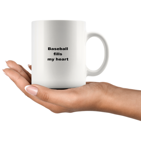Image of teelaunch 11oz White Mug jaife Baseball Fills My Heart Players Coach Coffee Tea Mug White 11 oz