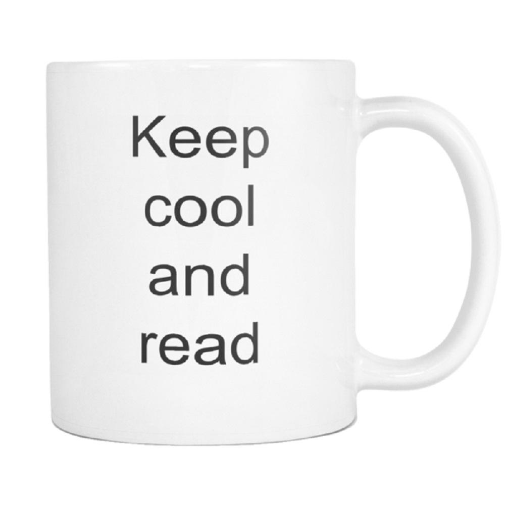 teelaunch 11oz White Mug Keep cool and read Literary Keep Cool And Read Avid Reader Coffee Tea Mug White 11 oz