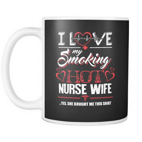 teelaunch 11oz White Mug Love my nurse wife(White) Love My Nurse Wife Coffee Tea Mug White 11 oz