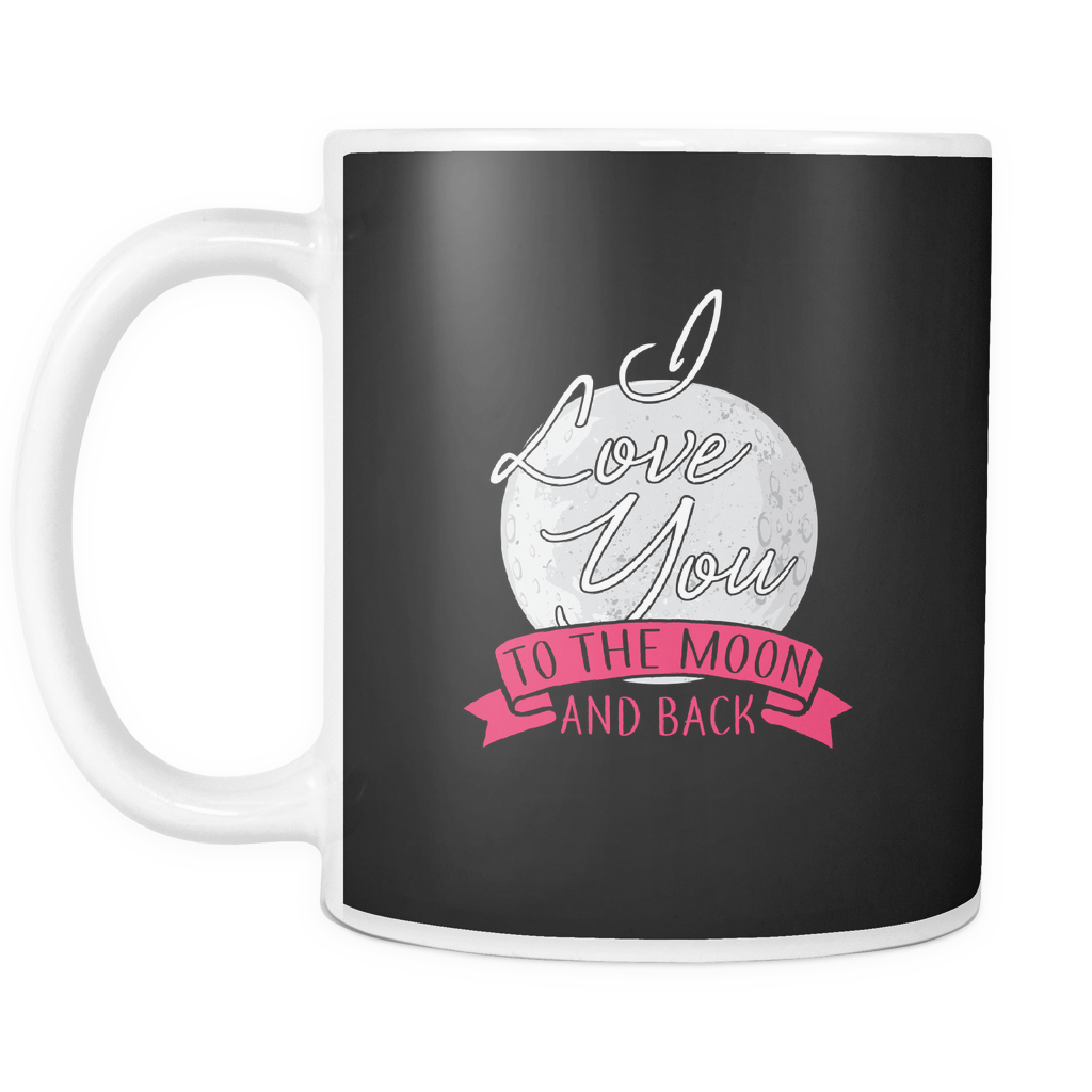 teelaunch 11oz White Mug Lovemoonback(White) Love Moon Back Coffee Tea Mug White 11 oz