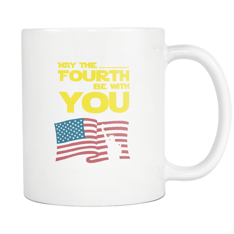 teelaunch 11oz White Mug May the 4th of july May The Fourth Be With You  Coffee Tea Mug White 11 oz