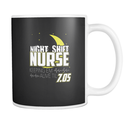 teelaunch 11oz White Mug Night Shift Nurse Night Shift Nurse Coffee Tea Mug White 11 oz