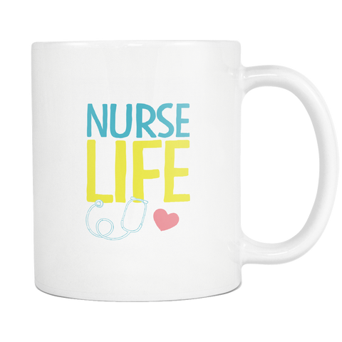 teelaunch 11oz White Mug Nurse Life Nurse Life Coffee Tea Mug White 11 oz