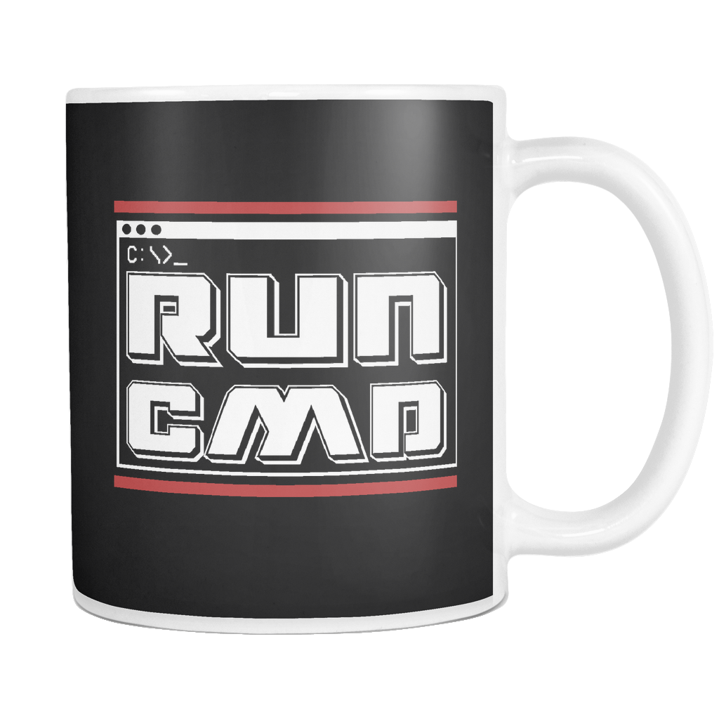 teelaunch 11oz White Mug Run cmd(White) Run cmd Coffee Tea Mug White 11 oz