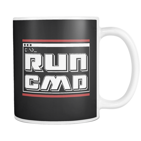 Image of teelaunch 11oz White Mug Run cmd(White) Run cmd Coffee Tea Mug White 11 oz