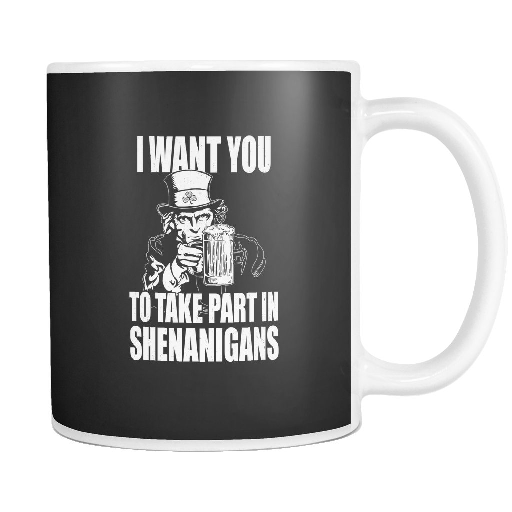 teelaunch 11oz White Mug Shenenigans(White) Shenanigans Coffee Tea Mug White 11 oz