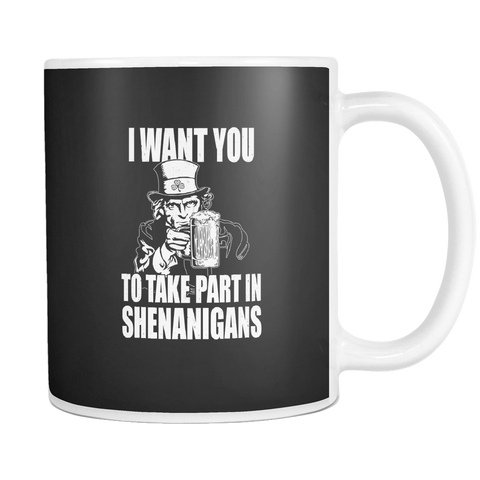 Image of teelaunch 11oz White Mug Shenenigans(White) Shenanigans Coffee Tea Mug White 11 oz