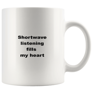teelaunch 11oz White Mug Shortwave LIstening Shortwave LIstening Coffee Tea Mug White 11 oz