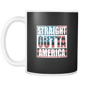 Straight Outta America Coffee Tea Mug White 11 oz