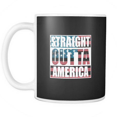 Image of teelaunch 11oz White Mug Straight outta america Straight Outta America Coffee Tea Mug White 11 oz