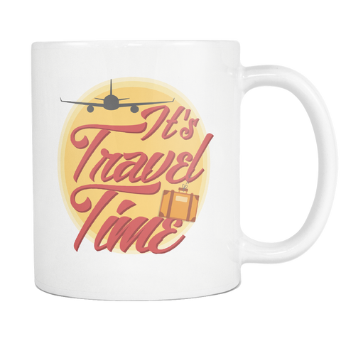 Image of teelaunch 11oz White Mug Traveltime(White) Travel Time Coffee Tea Mug White 11 oz