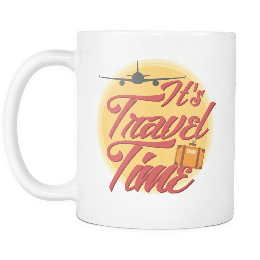 teelaunch 11oz White Mug Traveltime(White) Travel Time Coffee Tea Mug White 11 oz