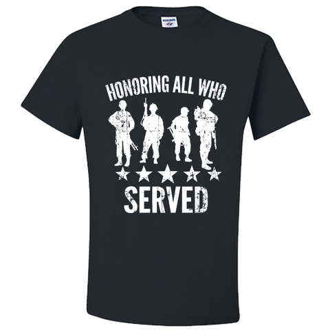 PrintTech Adult Unisex T-Shirt S / Black Adult Unisex T-Shirt - Honoring All Who Served - Veteran T-Shirt
