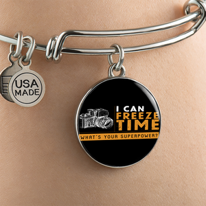Luxury Steel Charm Bangle  - I Can Freeze Time (Round)