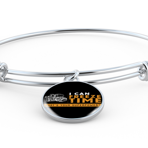 ShineOn Fulfillment Bangles Bangle-Bracelet adjustable / No Luxury Steel Charm Bangle  - I Can Freeze Time (Round)
