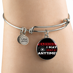 Luxury Steel Charm Bangle- I May Snap (Round)