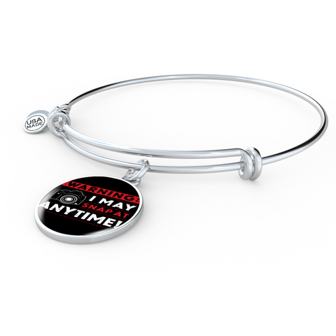 ShineOn Fulfillment Bangles Bangle-Bracelet adjustable / No Luxury Steel Charm Bangle- I May Snap (Round)